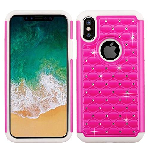 Insten Dual Layer [Shock Absorbing] Protection Hybrid Rhinestone Diamond Bling PC/TPU Rubber Case Cover Compatible with Apple iPhone X/XS, Hot - Diamond Rubber Feel White