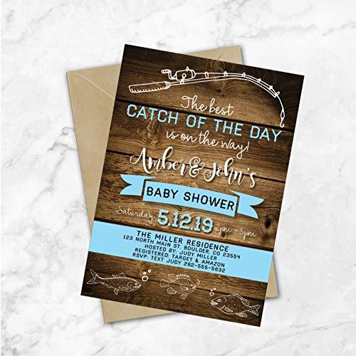 Fishing Baby Shower Invitations | Fishing Shower Invitations | Fishing Theme Party Invites | Nautical Baby Shower | Boy Baby Shower | Red]()