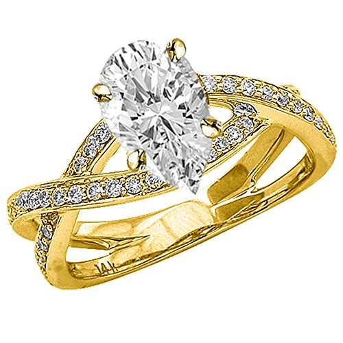 14K Yellow Gold 1.79 CTW Eternity Love Criss Cross Twisting Split Shank Diamond Engagement Ring w/ 1.5 Ct GIA Certified Pear Cut F Color VS2 Clarity Center