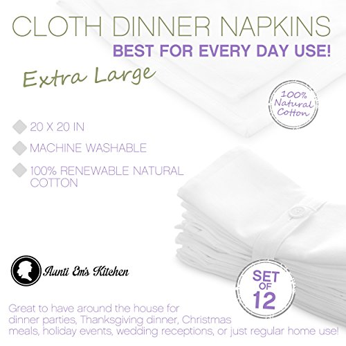 Aunti Em's Kitchen White Cotton Napkins Cloth 20 x 20 Oversized 100% Natural Bulk Linens for Dinner, Events, Weddings, Set of 12 by Aunti Em's Kitchen (Image #2)