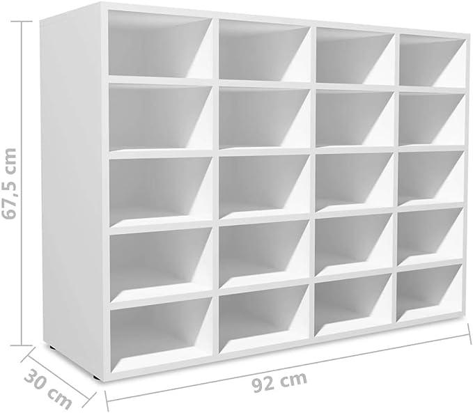 vidaXL Zapatero Madera Blanco Estante Mueble Organizador Zapatos 92x30x67,5 cm