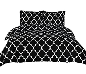 3 Piece Duvet Cover Set Duvet Cover with 2 Pillow Shams - by Utopia Bedding (queen, black)