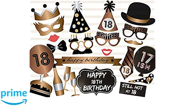 Amazoncom Losuya 18th Birthday Photo Booth Props Party Favor Kit