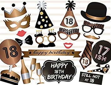 Veewon 18th Birthday Photo Booth Props Party Favor Kit 23 Count
