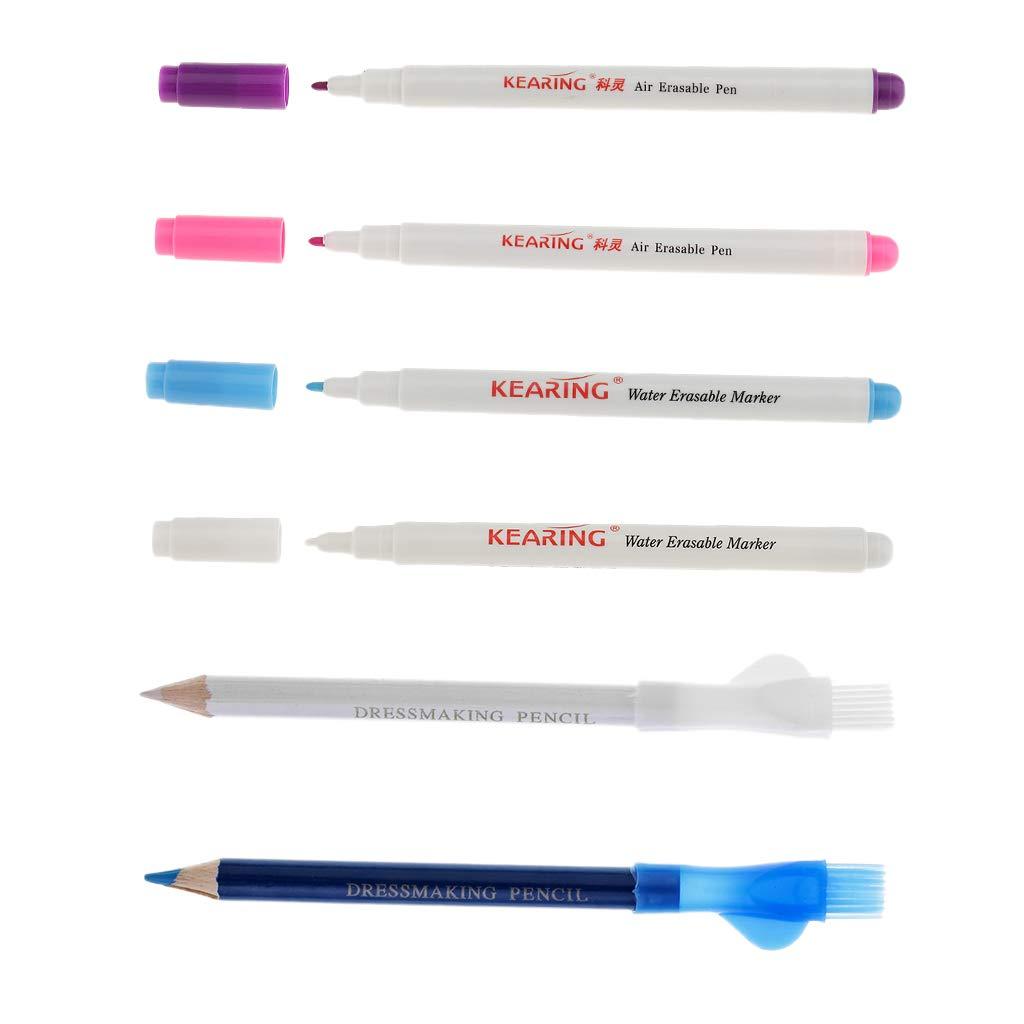 Luft Wasser L/öschbarer Feder F/ür N/ähendes Dressmaking KESOTO 6pcs Schneider Kreide Feder Bleistift