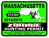 MASSACHUSETTS Zombie Hunting Permit 2014/2015 Car Decal / Sticker