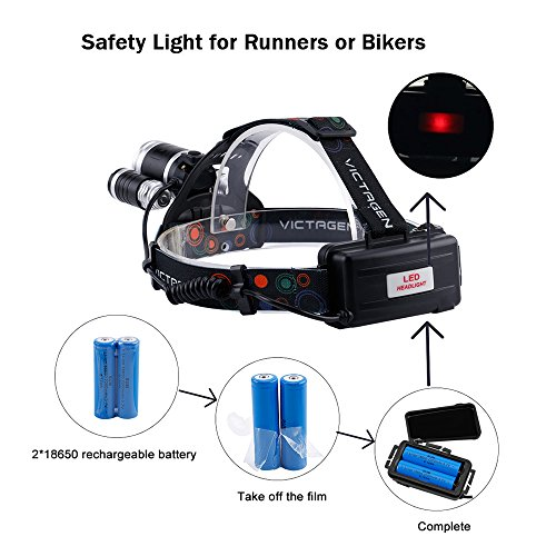 Victagen Waterproof 5000Lm LED Headlamp,Hands Free Zoomable Bicycle Headlight&Bike Flashlight Torch, Match 2 Rechargeable Batteries,USB Cable,Applies To Wall Charger And Car Charger For Outdoor Sports