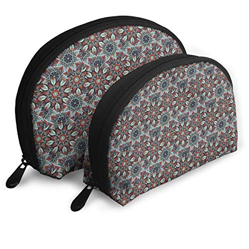 Shell Shape Makeup Bag Set Portable Purse Travel Cosmetic Pouch,Arabic Ottoman Style Motifs Folkloric Nature Inspired Elements Native Floral Art,Women Toiletry - Polyester Ottoman Glider