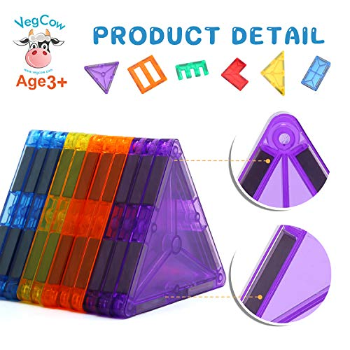 VegCow 100pcs Magnetic Tiles Set - 3D Magnet Building Blocks, Educational Construction Toys for Kids – Super Durable with Strong Magnets and Superior Color by VegCow (Image #4)