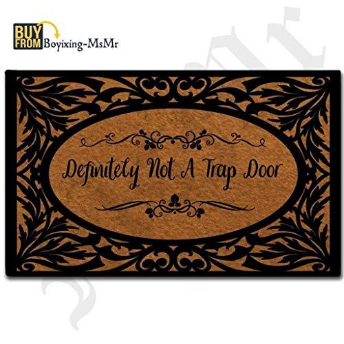 (MsMr Door Mat Entrance Floor Mat Definitely Not A Trap Door Designed Funny Indoor Outdoor Doormat Non-Woven Fabric Top 23.6