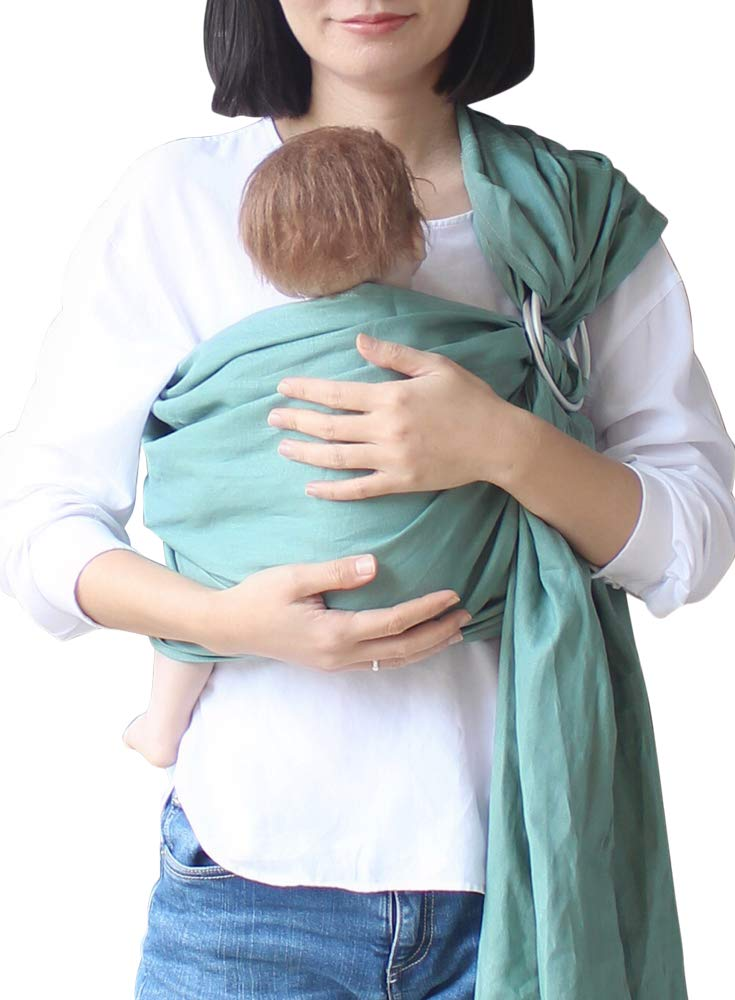 Breastfeeding Kids and Toddlers Adjustable Luxury lightweight Breathable Linen Baby Slings for Infant Vlokup Ring Sling Baby Carrier Wrap Newborn Shower Gift Black