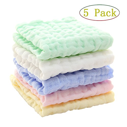 5 Pack Baby Washcloths and Towels ,Winmany Natural Organic C