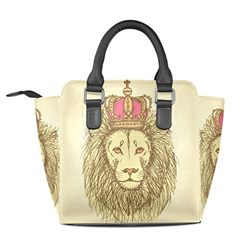 Crown Top TIZORAX Handbags Leather Handle Lion Cute Bags Women's Style Shoulder Vintage PU Sketch With In xS7rISq