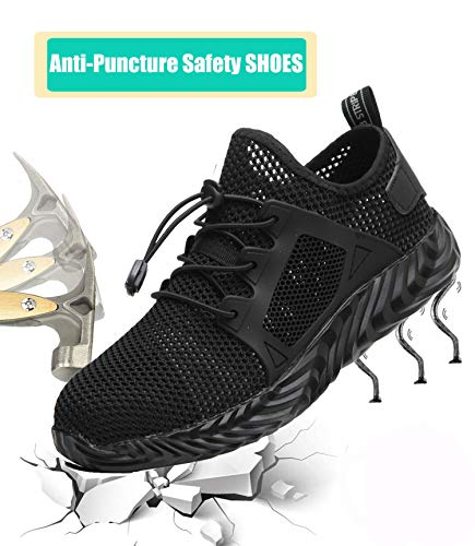 Getch Work Shoes Men Women Steel Toe Shoes Work Safety Shoes Breathable Industrial Construction Outdoor Puncture Proof Shoes