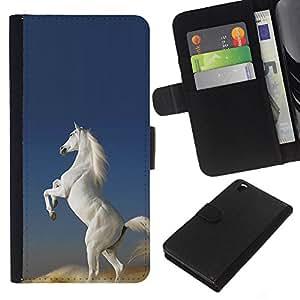 Leather Etui en cuir || HTC DESIRE 816 || Desierto Blanco Caballo salvaje Unicornio mágico @XPTECH