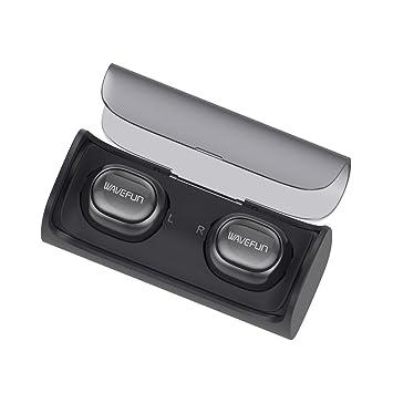 Auriculares inalámbricos verdaderos, WAVEFUN Sweatproof auriculares dual V4.1 Auriculares Bluetooth con micrófono incorporado