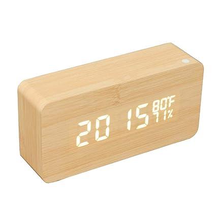 Shuangklei Reloj De Alarma De Madera Control De Voz Tiempo/Temperatura/Humedad/Calendario