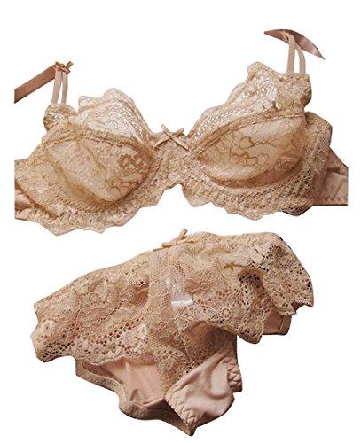 M2MO Womens Sexy Lace Sheer See Through Underwear Bra Set Nude 80B
