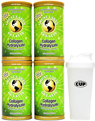 Great Lakes Gelatin  4 Collagen Hydrolysate 16 Ounce Cans And By The Cup Shaker Combo