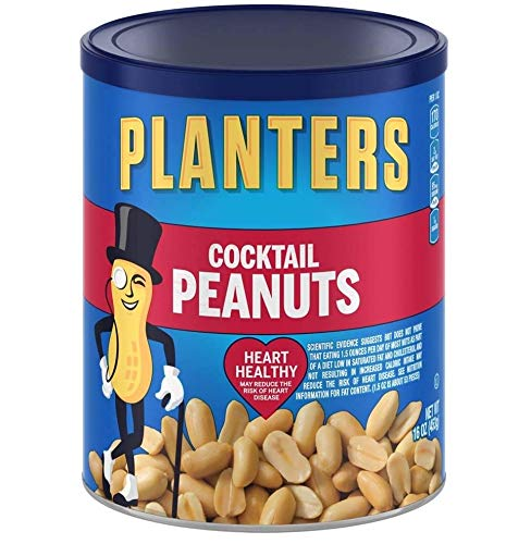 Planters Cocktail Peanuts, Salted, 16 Ounce Canister 9 Tubs