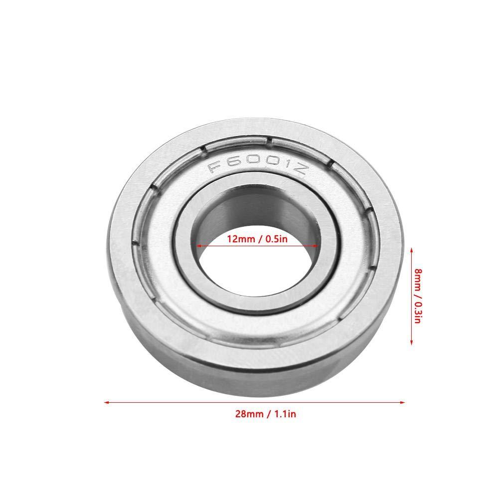 NITRIP 10pcs F6001ZZ Cuscinetti a sfera flangiati a doppia schermatura in miniatura 12x28x8mm