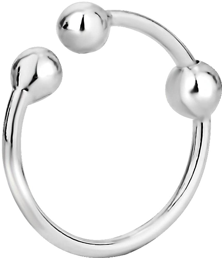 .925 Sterling Silver Non-Piercing Fake Nose Hoop Forbidden Body Jewelry FBJ-MN0054