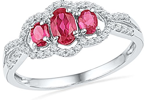 Jewel Tie Size - 6.5-10k White Gold Oval Round Red Simulated Ruby And White Diamond Fashion Band OR Engagement Ring Prong Set Square Shape Solitaire Shaped Halo Ring (1/6 cttw.) ()