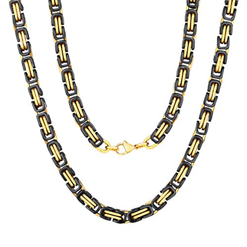 6MM Width Byzantine Chain 24 inch 316L Stainless Steel Mens Band Party Biker Necklace Jewelry Silver Gold Black Chain