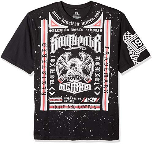 Southpole Men's Short Sleeve Graphic Tee Collection, Black Box, 6XB by Southpole
