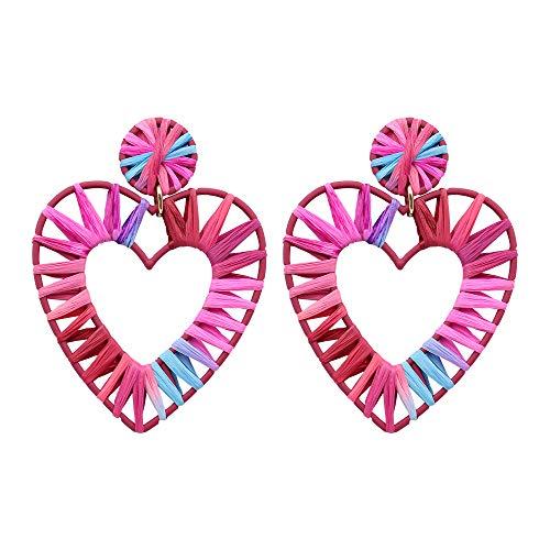 Jewelry Drop Earrings Heart (NEWNOVE Raffia Heart Earrings for Women Handmade Lightweight Geometric Straw Dangle Earrings for Girls)