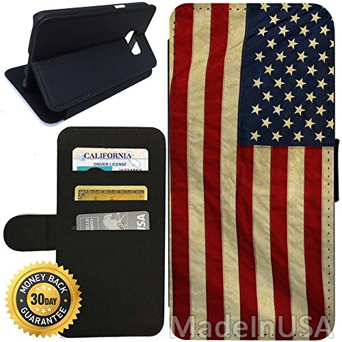 - Flip Wallet Case for Galaxy S7 (Vintage American Flag) with Adjustable Stand and 3 Card Holders | Shock Protection | Lightweight | Includes Stylus Pen by Innosub