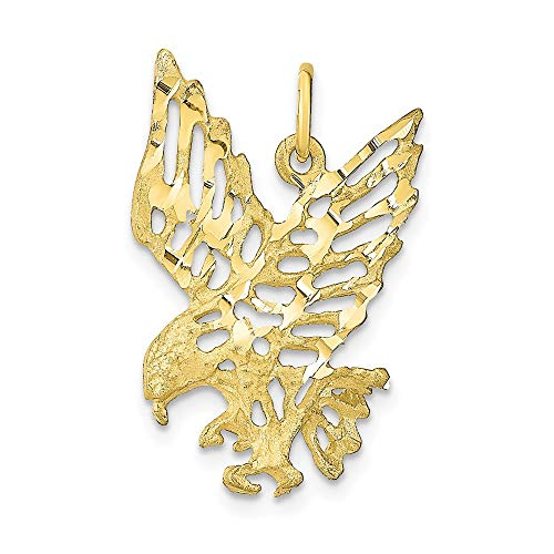 10k Yellow Gold Solid Eagle Pendant Charm Necklace Bird Fine Jewelry Gifts For Women For ()