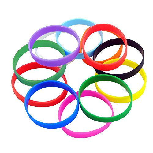M-online Silicone Bracelets Blank Adult Rubber Wristbands Mixed