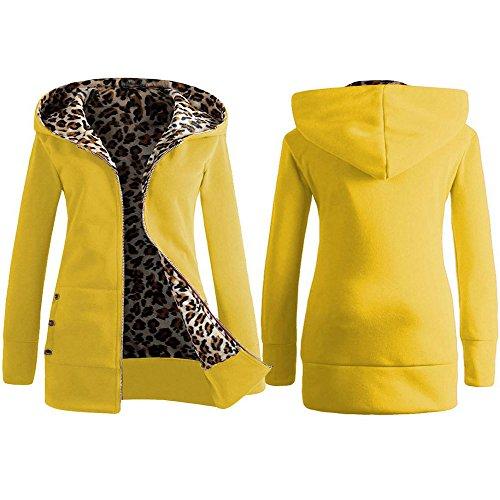 Manteau Chaud capuche Top Pull Simple Jaune Fermeture Automne Plus Sweat Cardigan Sunenjoy velours Chemisier Femmes Leopard Pardessus Plus Hiver Vtements Outwear Veste UYxB5Twaq