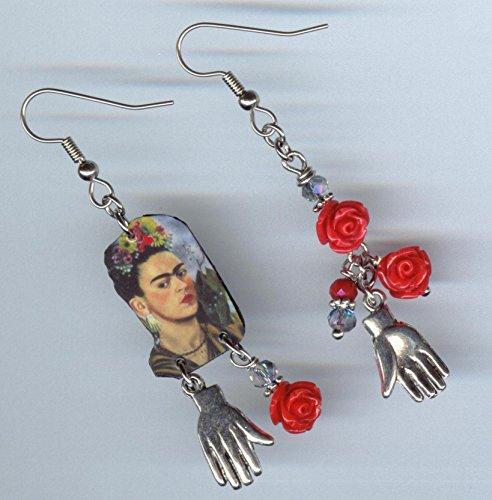 Frida hand earrings - red rose self portrait - Mexican artist art