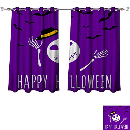 Waterproof Window Curtain Happy Halloween Card Template Abstract Halloween Pattern for Design Card Party Invitation Poster ALB Tie Up Window Drapes Living Room W108 x L72/Pair ()