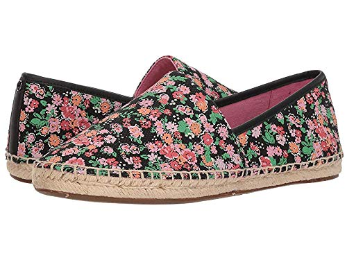 Coach Women's Flat Espadrille Black/Pink Floral Canvas 9.5 M US