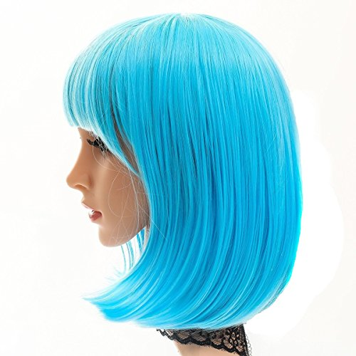 [MOCOO Short Bob Hair Wigs 14'' Flat Straight Bangs Heat Resistant Syntectic Wig Cosplay for Women ( Blue )] (Blue Wigs For Women)