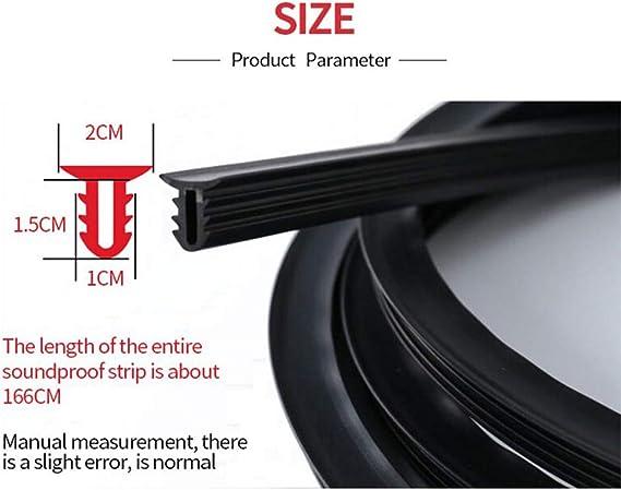 Volwco a prueba de sonido Tira de sellado para coche a prueba de polvo 1,6 m con bordes de goma aislante de ruido para el salpicadero del coche