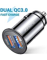 Caricatore automatico AINOPE, [doppia porta QC3.0] 36W / 6A [tutto metallo] Caricabatteria da auto Mini Caricabatteria auto Quick Charge Compatibile con iPhone 11/11 pro/XR/X, Note9/Galaxy S10 /S9/S8