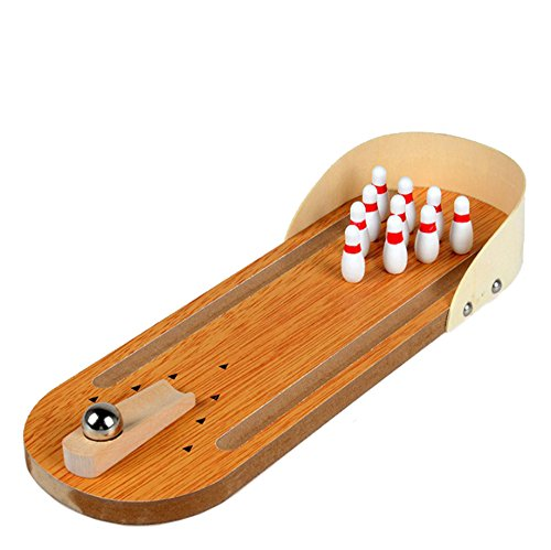 Fengirl Mini Bowling Game,Mini Wooden Tabletop Bowling Game for Kids and Adults (solid wood) Bowling Table