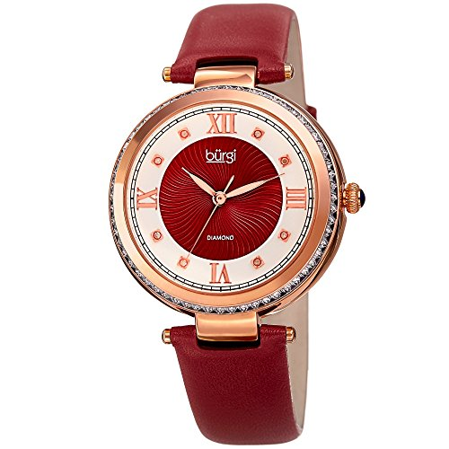 (Burgi Leather Women's Watch – Baguette Crystal Studded Bezel - Guilloche Dial Genuine Diamond Markers – Red Genuine Leather Skinny Strap – BUR202RD )