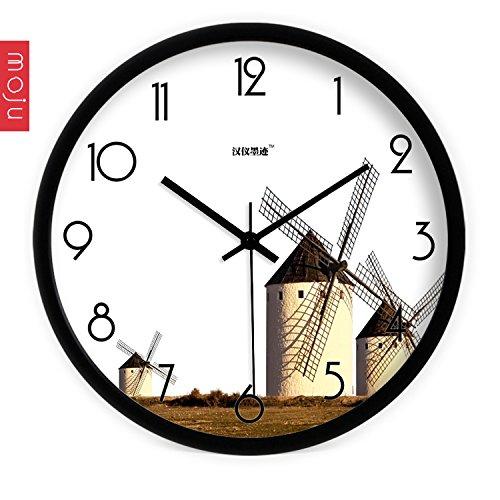 Znzbzt Simple Creative Mute Wall Clock Hon-yee Ink Wall Clock Creative Arts, Modern Minimalist Windmills Sitting Mute Clock Quartz Clock, 14 inch, Black