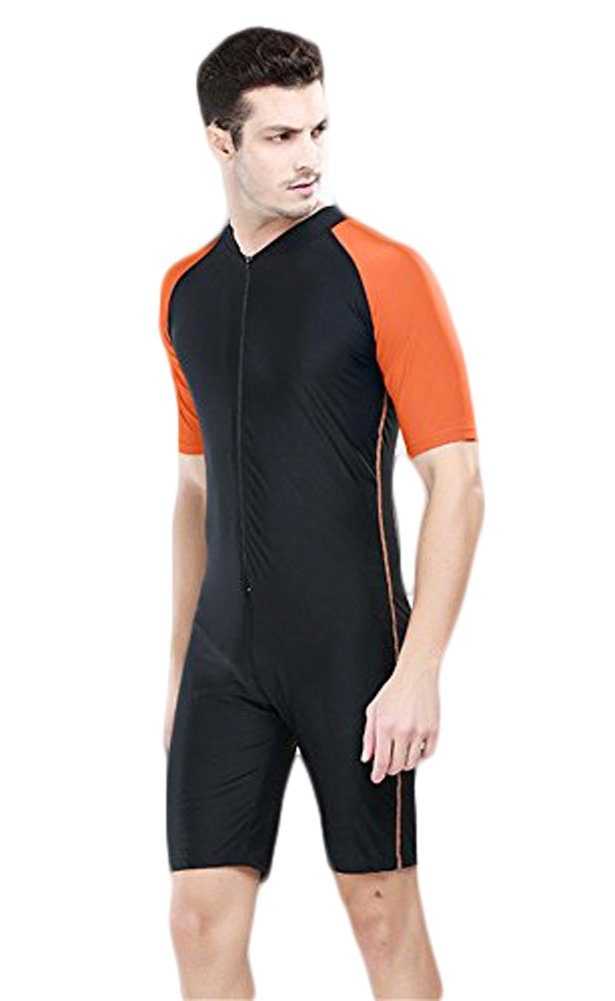 Fortuning's JDS Design UV Protective one Piece Short-Sleeve Swimwear for Men LUCKY BUTTERFLY