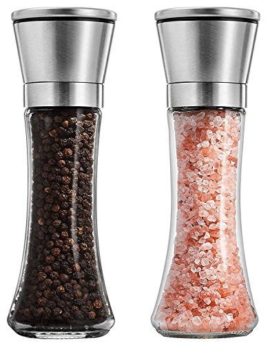 per Shaker Grinder Set of 2-6 Oz Capacity, Stainless Steel Top and Tall Glass Body ()