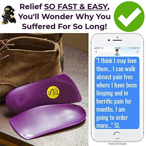 Samurai Insoles Insoles for Women Ninjas, Orthotics for Women, Shoe Inserts for Foot Heel Pain, Soles for Shoes for Flat Feet Arch Support, Mens 6-6.5   Womens 8-8.5 Purple