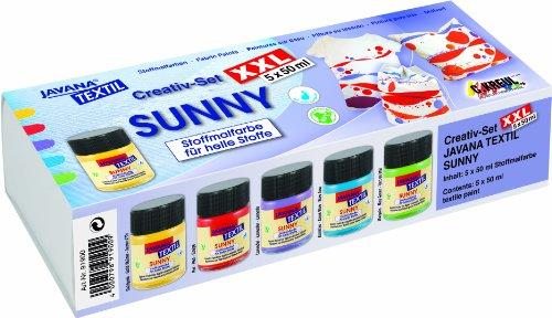 JAVANA 91900 - Textil-Stoffmalfarben Sunny Creativ Set XXL  5 x 50 ml