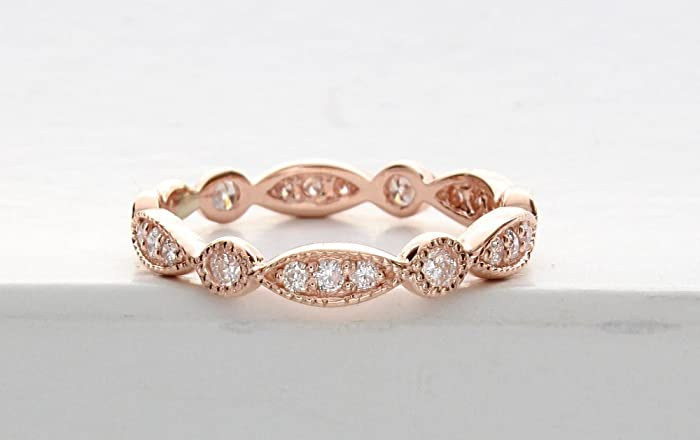 Rose Gold Art Deco Wedding Band, Rose Gold Vintage Wedding Band, Milgrain  Wedding Ring, Unique Diamond Wedding Band, Vintage Diamond Ring