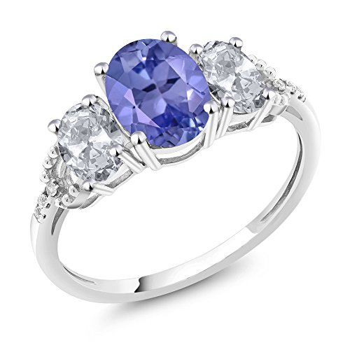 10K White Gold Diamond Accent Three-Stone Engagement Ring set with 2.21 Ct Oval Blue Tanzanite White Topaz (Ring Size 8) by Gem Stone King