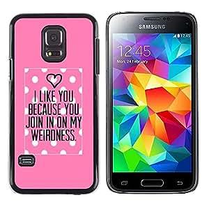 Caucho caso de Shell duro de la cubierta de accesorios de protección BY RAYDREAMMM - Samsung Galaxy S5 Mini, SM-G800, NOT S5 REGULAR! - Pink Love Valentines Couple